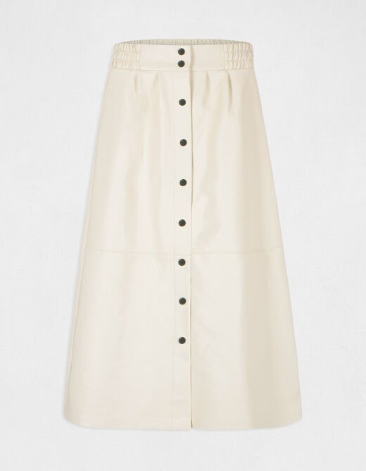 Buttoned high-waisted A-line skirt ivory ladies'
