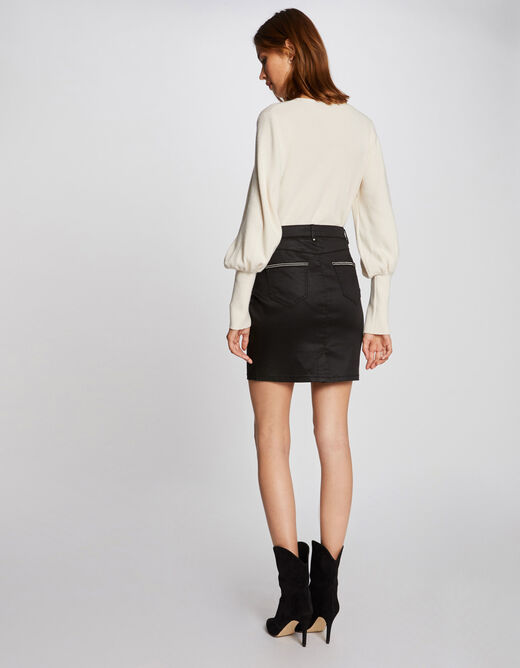 Fitted skirt with wet effect black ladies'