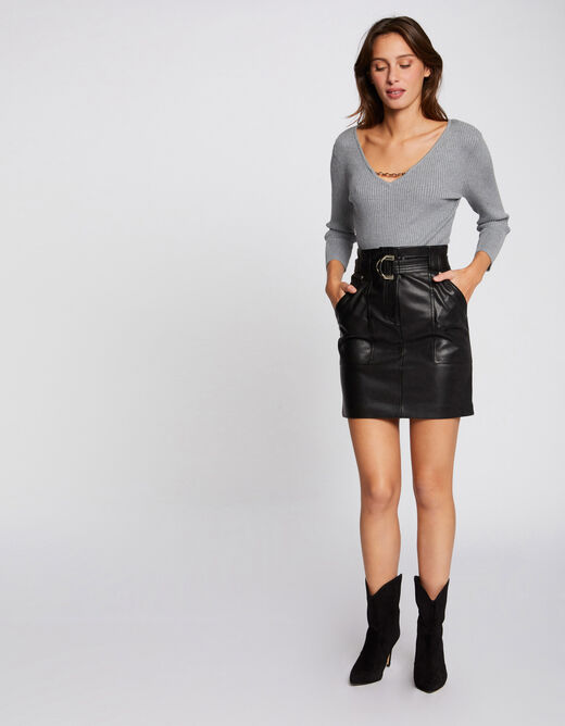 High-waisted belted straight skirt black ladies'