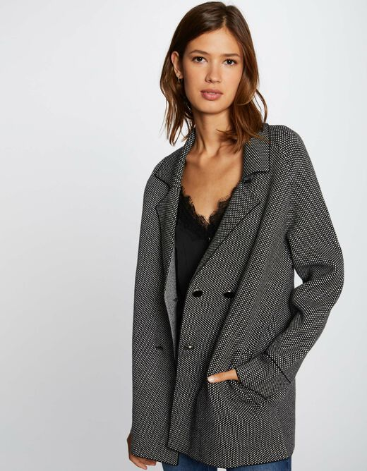 Buttoned long-sleeved cardigan mid-grey ladies'