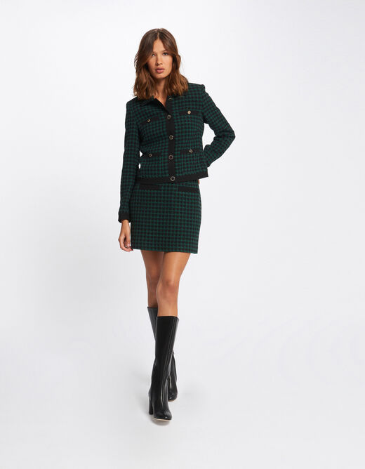 Checked straight jacket green ladies'