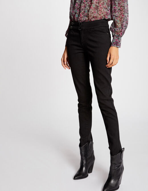 Skinny jeans with buttoned tabs black ladies'