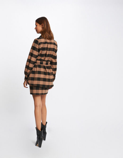 Checked straight belted jacket camel ladies'