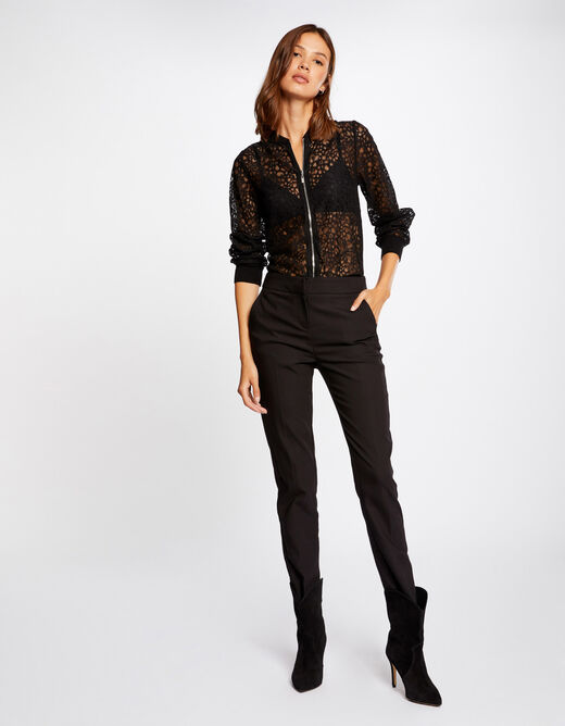 Long-sleeved cardigan with lace black ladies'