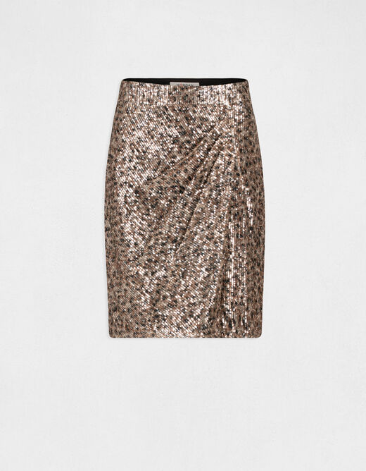 Straight skirt with wrap-over effect multico ladies'