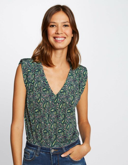 Printed vest top with wide straps multico ladies'