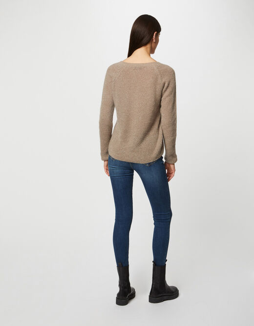 Long-sleeved jumper with V-neck taupe ladies'