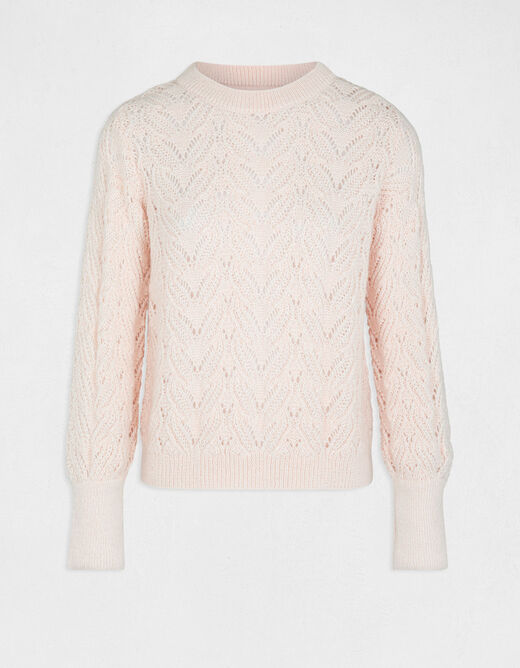 Long-sleeved jumper with round neck pale pink ladies'