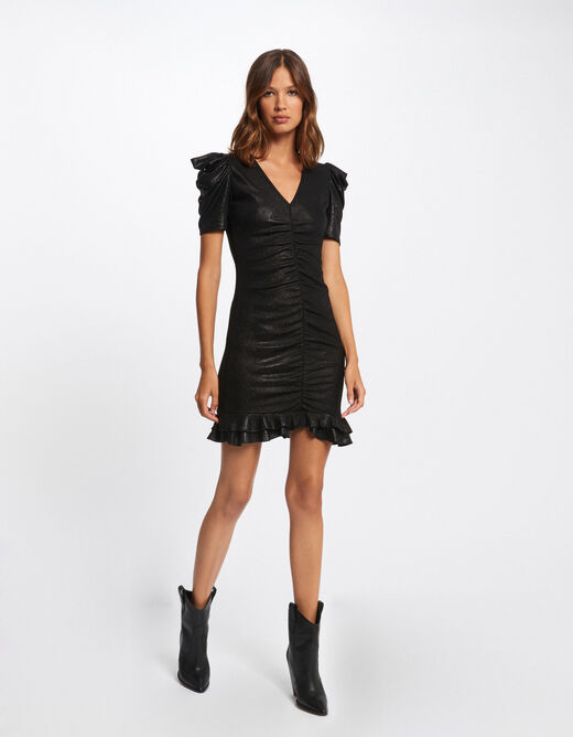 Shirred fitted dress with short sleeves black ladies'