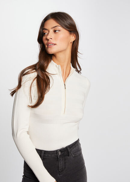 Pull manches longues col montant zippe ivoire femme