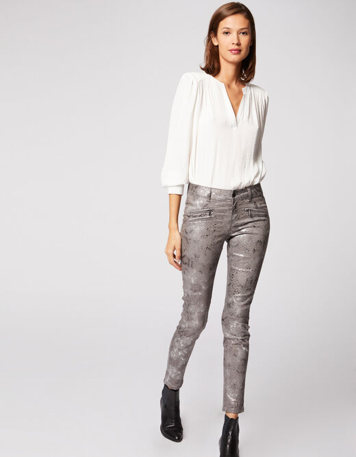 Slim trousers with snake print silver ladies'
