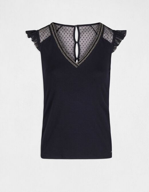 Short-sleeved t-shirt with dobby spot navy ladies'