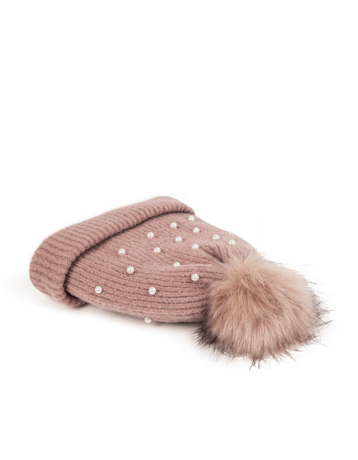 Beanie with pom-pom and pearls pink ladies'