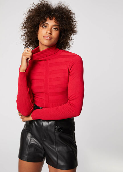 Pull manches longues col roule rouge vin femme