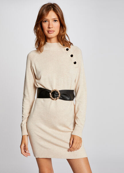 Robe pull droite a col montant beige femme