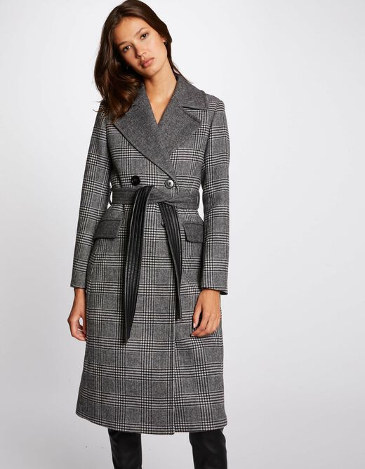 Straight belted coat with check print multico ladies'