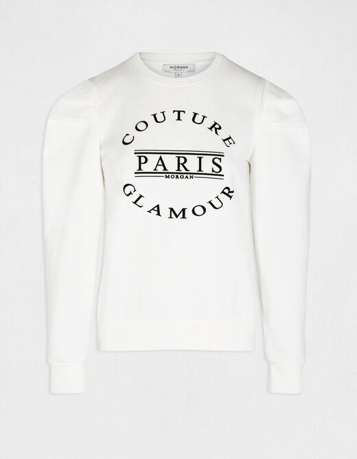 Long-sleeved sweat with message ecru ladies'