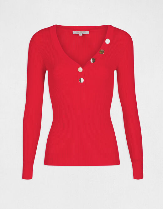 Long-sleeved jumper buttons fine knit red ladies'