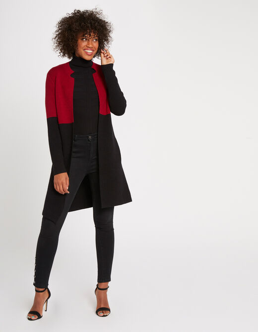 Straight jacket with notched collar burgundy ladies'