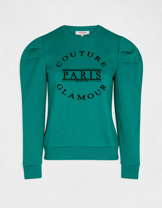 Long-sleeved sweat with message green ladies'