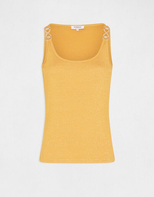 Vest top large straps with ornaments yellow ladies'