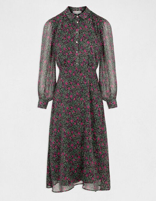Maxi A-line dress with floral print multico ladies'