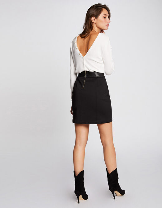 Straight skirt with buttons black ladies'