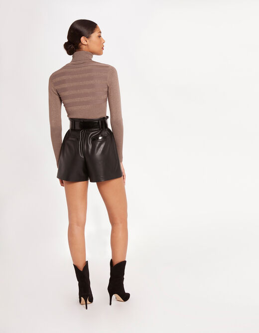 Long-sleeved jumper with turtleneck taupe ladies'