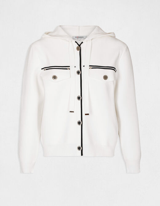 Buttoned cardigan with hood ecru ladies'