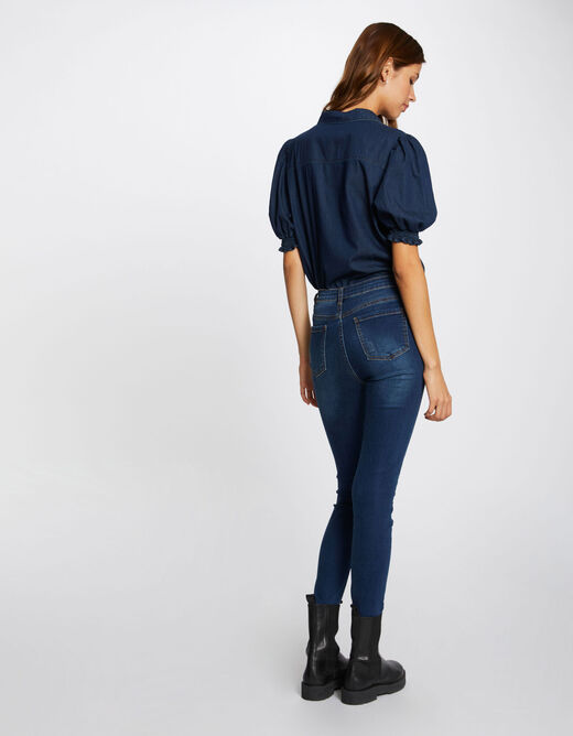 High-waisted slim jeans with ornaments raw denim ladies'