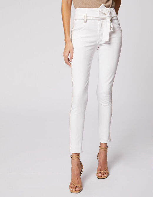 Skinny trousers with belt and strips ecru ladies'