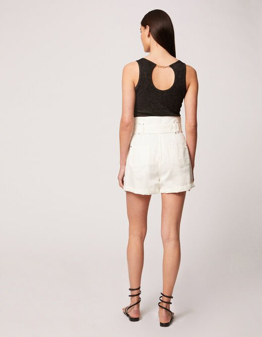 Vest top with wide straps and open back black ladies'