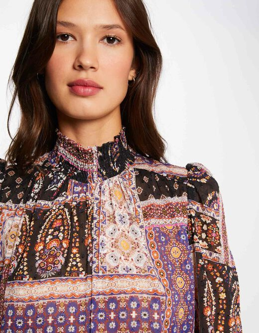 Long-sleeved blouse with abstract print multico ladies'