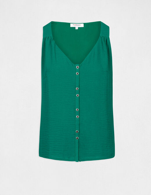 Shirt with wide straps and buttons green ladies'