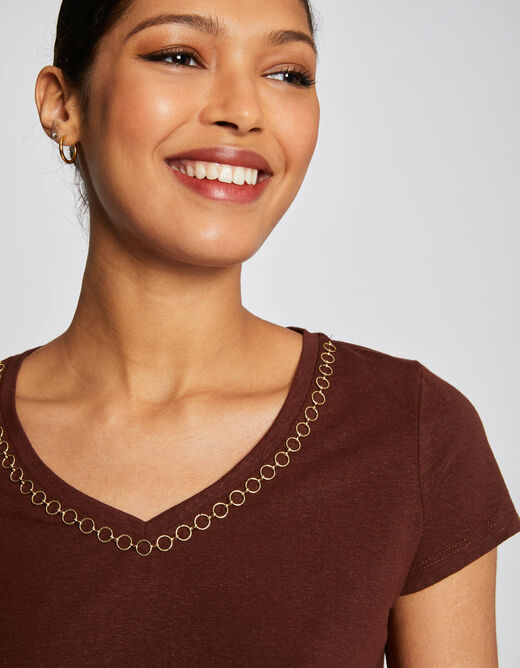 Short-sleeved t-shirt with chain detail choc ladies'