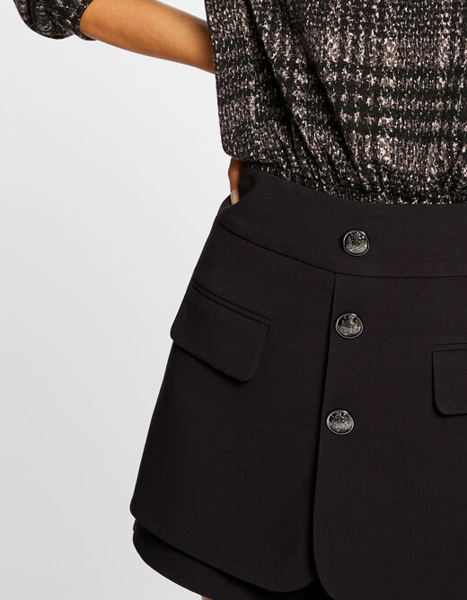 A-line skort with buttons black ladies'
