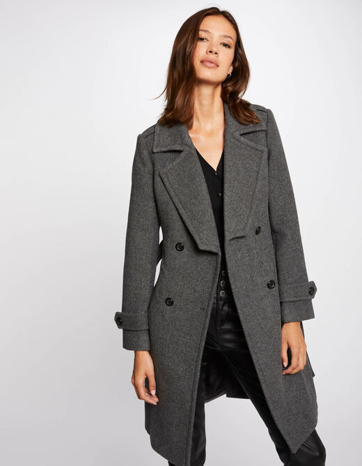 Straight buttoned and belted coat anthracite grey ladies'