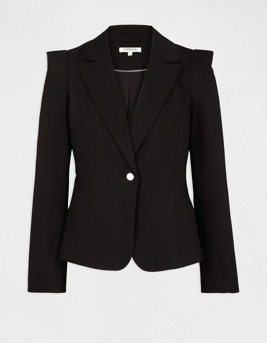 Waisted jacket with shirred shoulders black ladies'