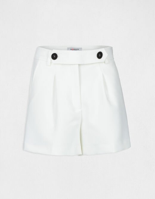 Straight shorts with buttoned tab ecru ladies'