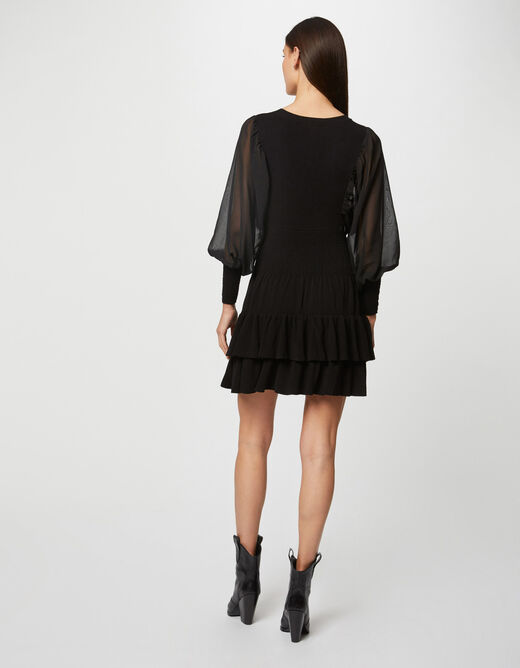 Fitted jumper dress with puff sleeves black ladies'