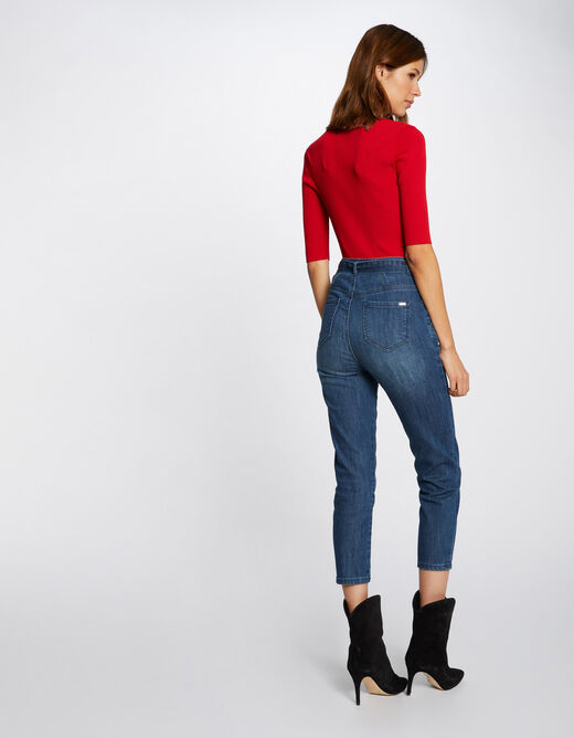 Buttoned short-sleeved jumper red ladies'