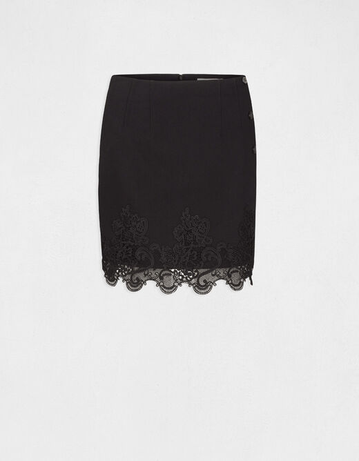 High-waisted straight skirt with lace black ladies'