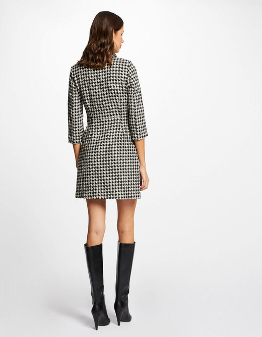 Straight dress with houndstooth print black ladies'