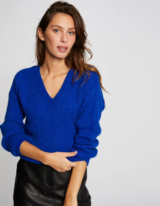 Long-sleeved jumper with V-neck electric blue ladies'