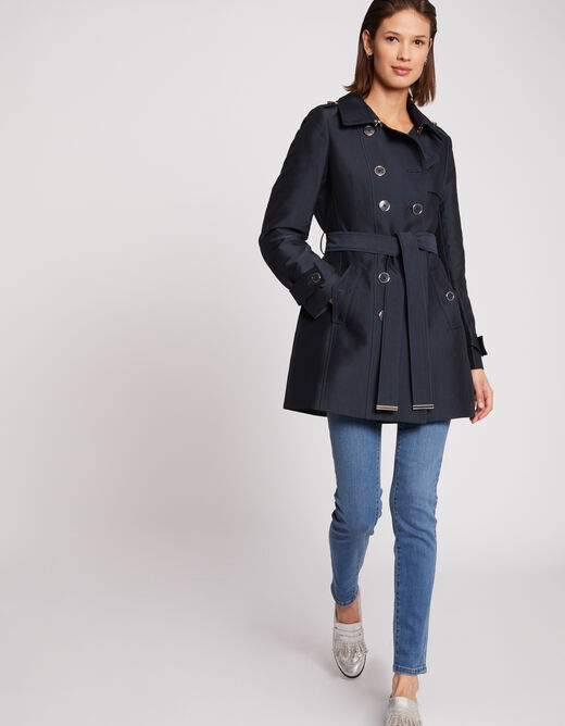 Straight coat with belt and buttons navy ladies'