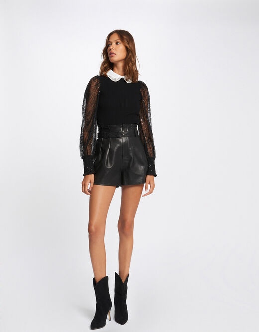 Long-sleeved jumper with double collar black ladies'