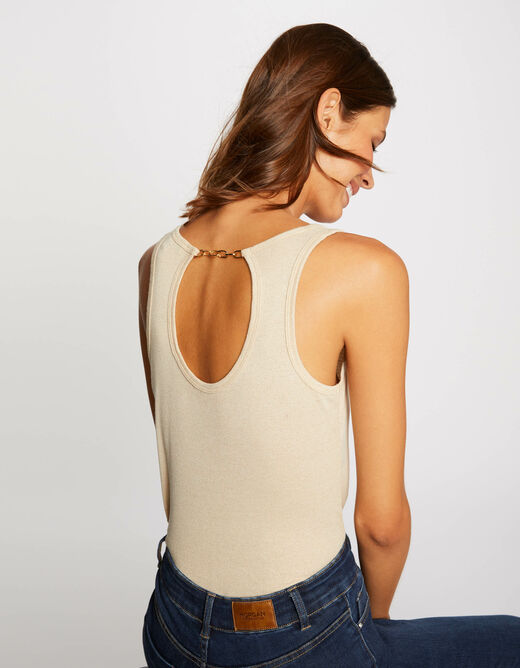 Vest top with wide straps and open back gold ladies'