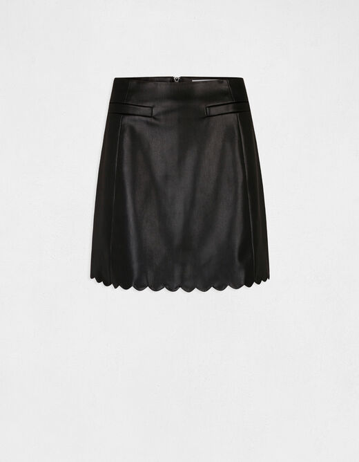 Fitted skirt with scallop hem black ladies'