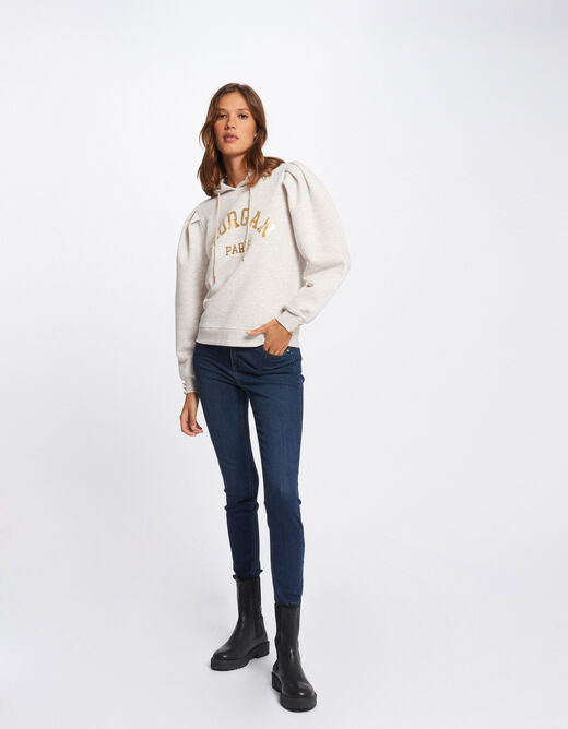 Long-sleeved sweat with message beige ladies'