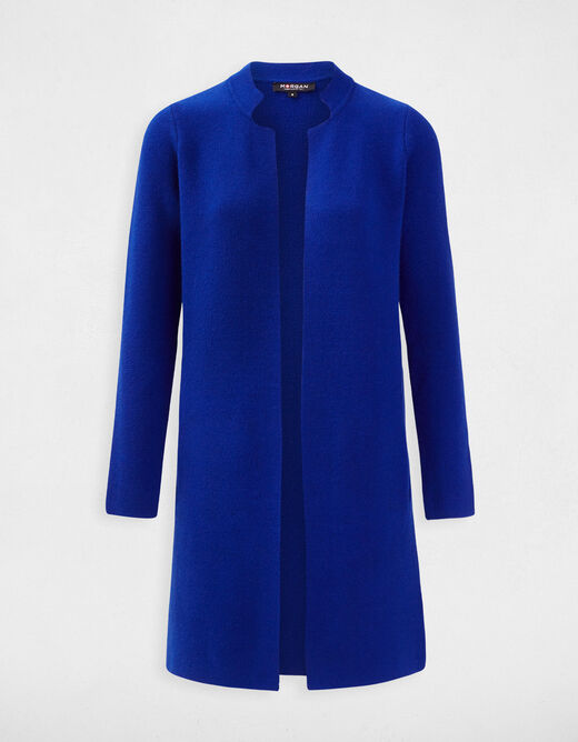 Straight jacket with notched collar electric blue ladies'